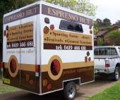 Mobile coffee trailer vinyl graphics